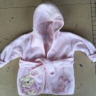 Disney Brand Infant Girls Pink Piglet Hooded Robe Size 0-9 Months