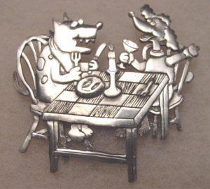 Signed JJ pewter color metal brooch pin vintage jewelry whimsical dogs at dinner table