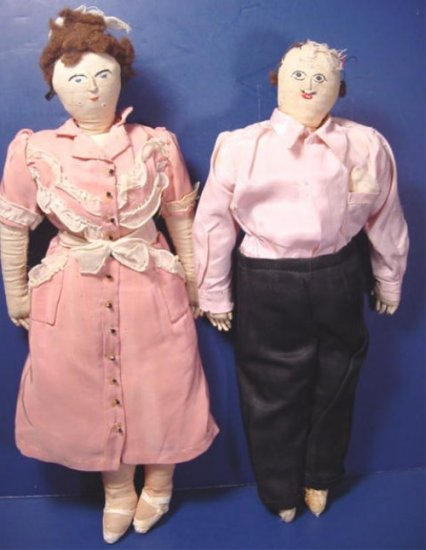 Antique pair hand made cloth dolls unusual lady and man embroidered handcrafted vintage