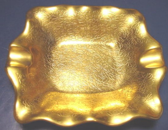 Pickard china painted floral pattern gold overlay porcelain dish ash tray ashtray bowl