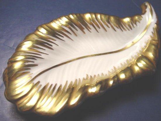 Limoges France leaf shaped china vintage porcelain dish pin tray F. & F. bowl