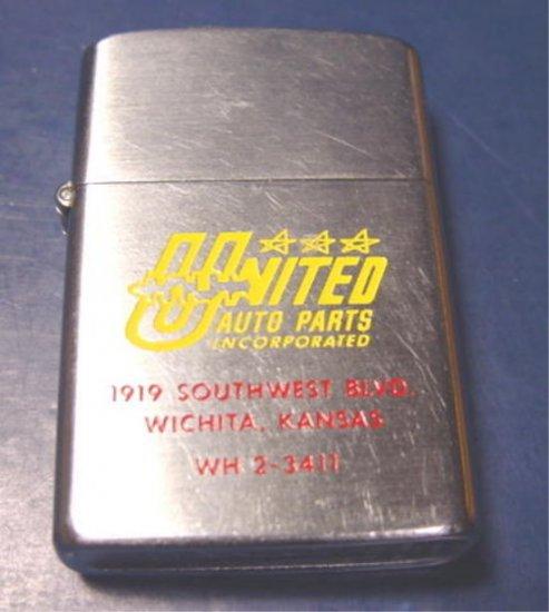 Barlow vintage advertising cigarette lighter United Auto Parts enameled Wichita Kansas Ks.