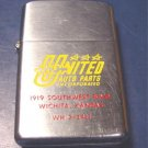 Barlow vintage advertising cigarette lighter United Auto Parts enameled Wichita Kansas Ks.