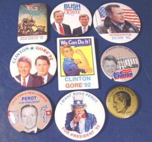 Bush Quayle Clinton Gore 9 presidential campaign 1992 political buttons 12008BUT1