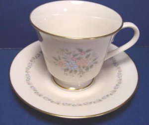 Lenox Christie china cup saucer pink blue flowers gold paint rim porcelain dinnerware