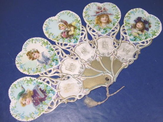 Vintage Valentine fold out fan Victorian die cut Token of Love, children large greeting card