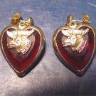 Loyal Order of Moose WOTM Women of the Moose vintage red heart pierced hearts earrings