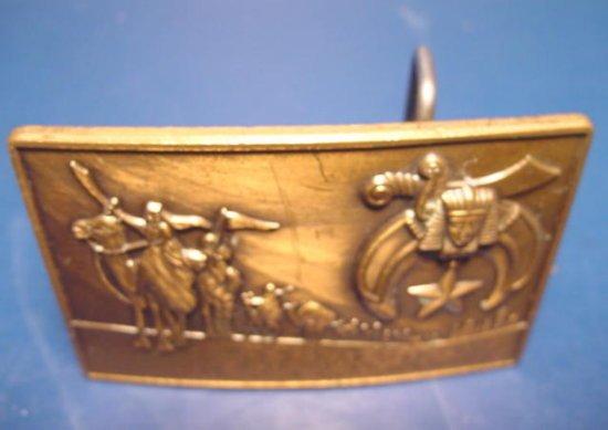 1978 Shriner fraternal Masonic solid bronze Klitzner belt buckle Shriners Masons sword, sphinx, star