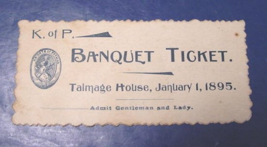 Knights of Pythias K. of P. antique banquet ticket fraternal Masonic Masons FCB 1895 Talmage House