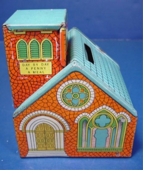 J. Chein tin litho vintage toy metal church bank Day by Day Penny a Meal God loveth cheerful giver