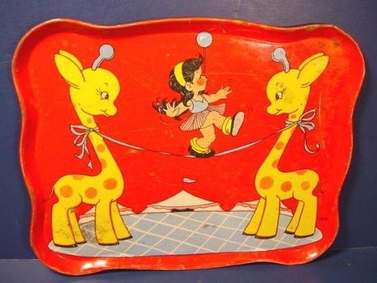 Circus tin litho tray vintage childs doll toy for tea set giraffes tightrope Chein or Ohio Art
