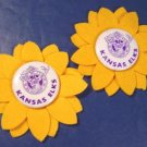 Kansas Elks vintage metal pin 2 pinback buttons yellow felt sunflowers BPOE Order of Elks fraternal