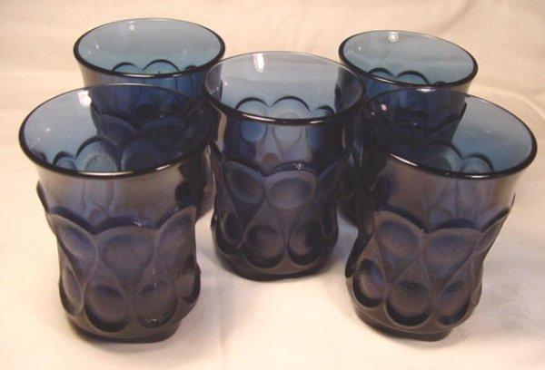 Noritake Spotlight dark blue crystal flat tumblers 5 heavy pressed water glasses 1970s glass