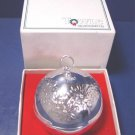 Towle Silversmiths poinsettia flowers ornament silver sleigh bell 1980 Christmas silverplate 3175