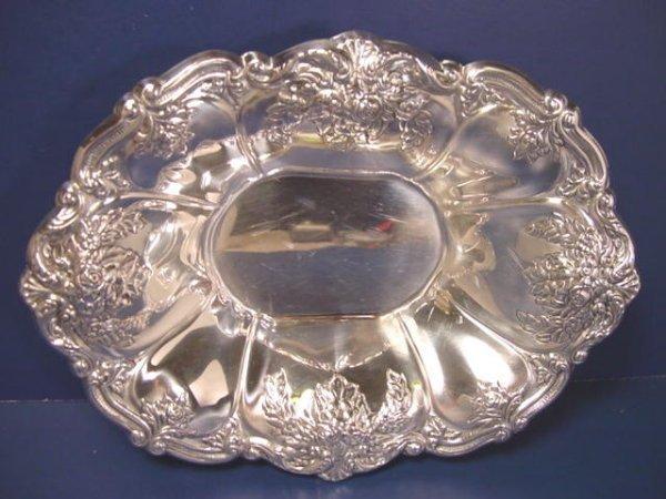 One St. Regis by Wallace silverplate Bon Bon candy bowl # 9720 silver hollowware 8 inch oval dish