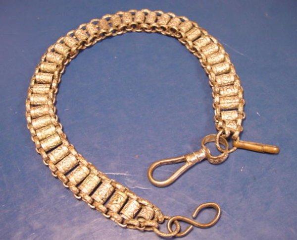 Ornate sword hanger chain silverplate brass metal vintage ISET maybe Masonic Fraternal