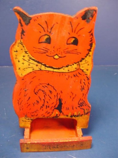 Folk art cat kitchen match box vintage holder primitive wooden kitty red painted wood