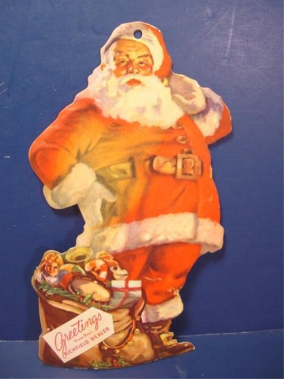 santa claus cardboard greetings richfield dealer advertising vintage 1950s christmas decoration - Vintage Christmas Decorations 1950s