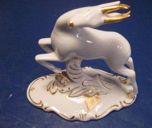 Royal Dux deer figurine Czechoslovakia Bohemia porcelain gold white fine china figure 606