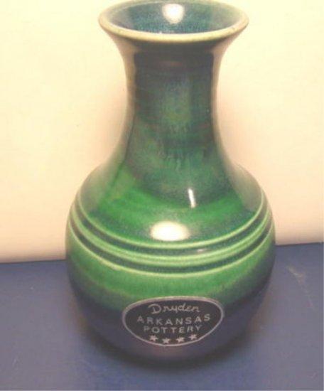 Dryden Art Pottery Hot Springs Arkansas Flower Vase 1997 Green Blue Artist Jk Dryden Original Label