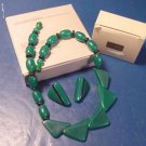 Color Waves necklace Avon vintage 1987 pierced earrings green onyx deco style 16 inch beads