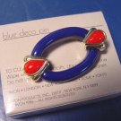 1986 Dark Blue Deco Avon 1986 oval pin brooch vintage red teardrop goldtone open center plastic, box