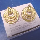 Avon Stylish Hoop pierced earrings vintage 1988 open hoops teardrops goldtone metal, box