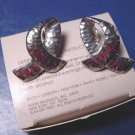Silvertone Hammered Loop silver color metal loops Avon vintage 1989 pierced earrings with box