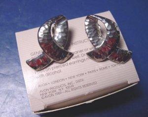 Silvertone Hammered Loop silver color metal loops Avon vintage 1989 pierced earrings with box