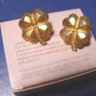 Lucky Four Leaf Clover Avon vintage 1988 pierced earrings heart shamrock goldtone metal 4-leaf