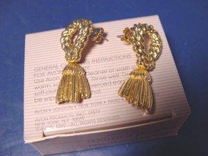 Avon Decorative Tassel pierced earrings vintage 1989 goldtone metal surgical steel posts with box