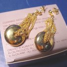 Contempo Avon vintage 1991 pierced earrings goldtone metal dangle chains with box