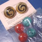 Color Collections Avon 1988 vintage earrings pierced goldtone metal convertible black green red