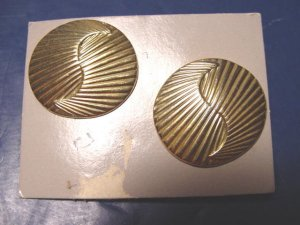 1980s vintage Avon Elegant Oval textured pierced earrings goldtone metal, no box