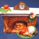 1988 Avon Fireplace Friends Christmas candle holder mantle sleepy bear Bayberry tealight