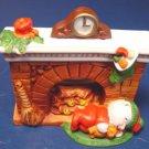 1988 Avon Fireplace Friends Christmas candle holder mantle sleepy bear Bayberry tealight