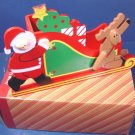 Vintage 1980s Avon big wooden Santa's sleigh Santa Claus reindeer for candy plant Christmas cards