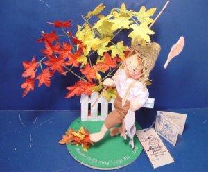 Annalee Doll Society Logo vintage 1995 kid goin fishin Huck Finn boy fishing pole felt Mobilitee