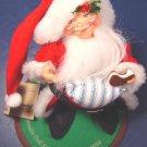 1994 vintage Annalee Mobilitee Doll Society logo kid Santa Claus costume boy, cookie, felt