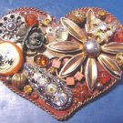 Artisan handcrafted big heart artist brooch pin copper colors aurora borealis rhinestones amber