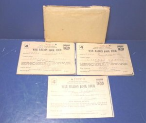 WWII World War II 1943 ration stamps 3 coupon book books envelope, Frank Laura Hadsell Chapman, KS.