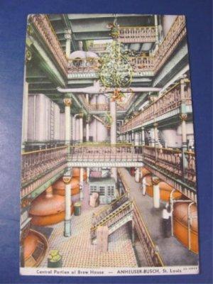 Anheuser Busch brew house 1930s Curt Teich postcard King of bottled beer Budweiser brewery St. Louis