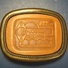 McCord Gaskets advertising belt buckle brass metal with leather insert