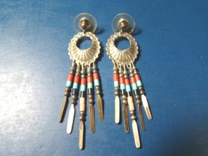 Zuni Q T Silver Sterling Native American Indian Earrings Turquoise C Gemstones Beads Concho
