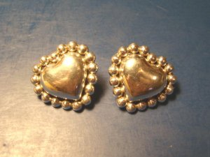 Taxco Heart TJ-75 beaded puffy sterling silver 925 earrings Mexico vintage artist signed pierced