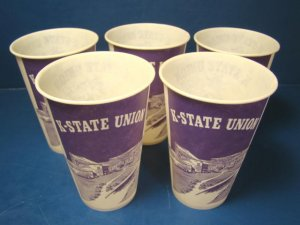 K-State Wildcats Union Kansas State University KSU purple 5 vintage waxed paper drink cups Lily
