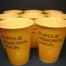 Purdue Memorial Union University official seal 8 vintage waxed paper cold drink cups Lily-Tulip Co.
