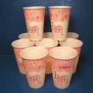Have Fun pink vintage 10 waxed paper cold drink cups Amusement Design Lily-Tulip 4 ½ inch #1257