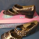 Et Cetera shoes 1960s white polka dots vintage ladies navy blue 6.5 6 ½ S low heel buckle