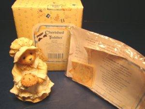 Cherished Teddies Patience Happiness is Homemade figurine bear pilgrim with pie 1994 Enesco 617105